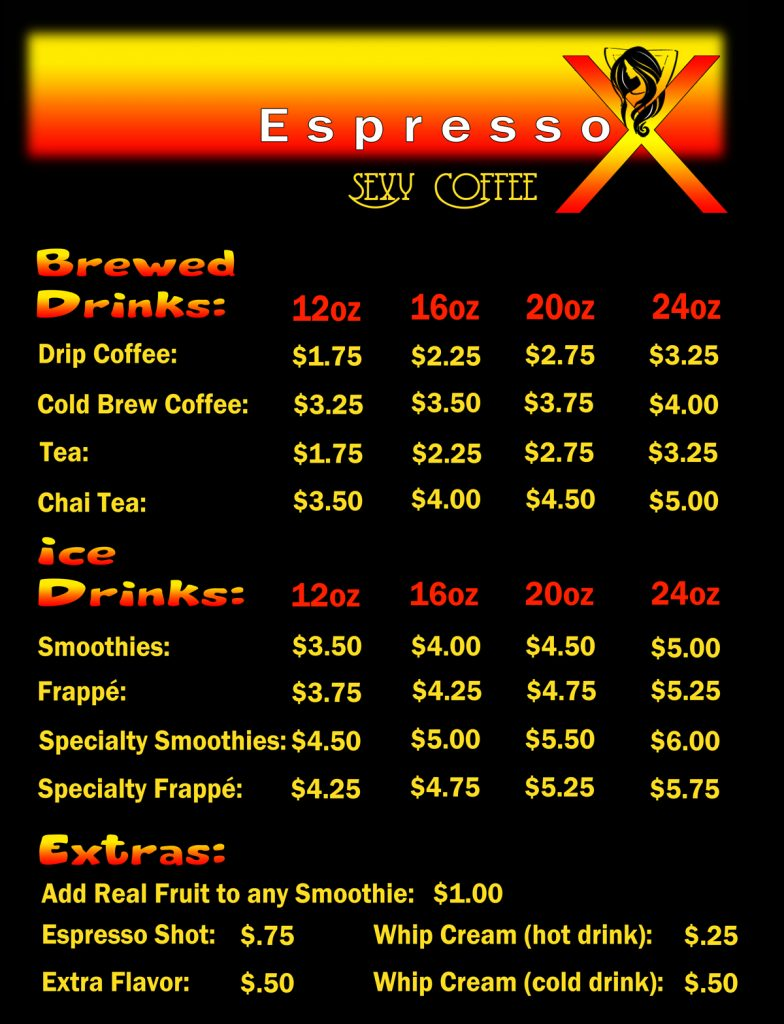 Espresso-X Price List page 1